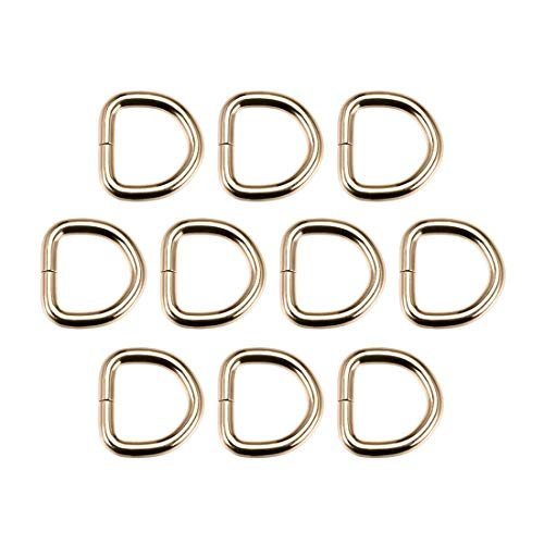 DyniLao 10pcs Metal D-Ring 0.8'(20mm) D-Buckles Buckle for Hardware Bags Belts DIY Crafts Accessories Gold Tone