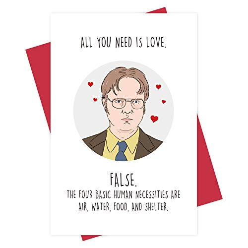 Hilarious Dwight Schrute Anniversary Card, Funny Office Valentine's Day Card for Husband Wife BF GF