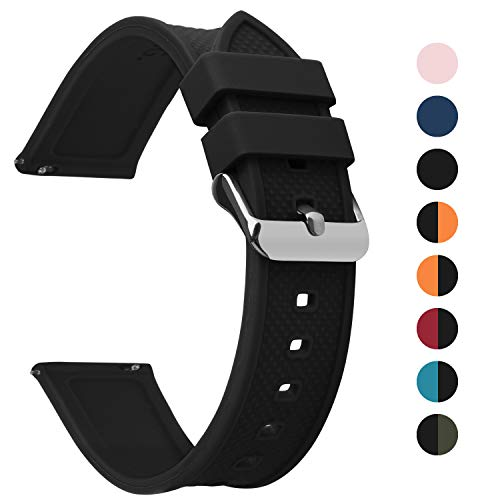 Fullmosa Silikon Uhrenarmband 24mm mit Schnellverschluss in 8 Farben, Regenbogen Weich Silikon Uhrenarmband mit Edelstahlschnalle,24mm Schwarz