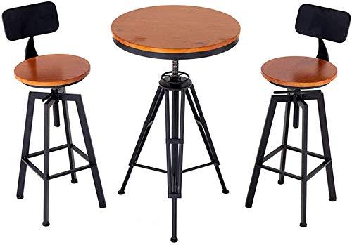 Taburete alto taburete bar Arte hierro taburete de la barra de altura ajustable de alta heces (heces de dos y una mesa) estilo industrial de madera creativa de la vendimia de café del restaurante SLZF