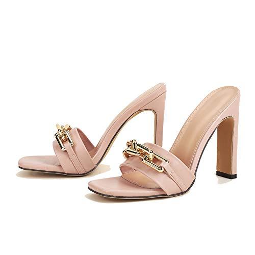 Sandalias de Tacón Grueso de Bloque para Mujer con Cadena de Metal Zapatos de Tacón Cuadrado de Cuero PU Zapatillas de Fiesta Regalos, Tacón 105MM,Pink_105mm,42
