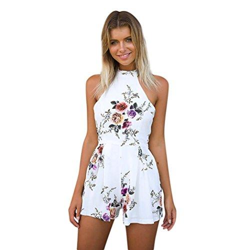 ESAILQ Sommer Floral Bedruckte Jumpsuit Damen Halfter ärmellose breite Lange Hosen Jumpsuit Strampler(L,Weiß)