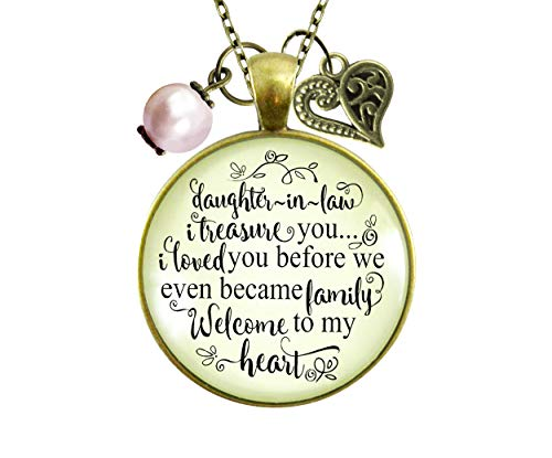 Gutsy Goodness Daughter in Law Necklace Treasure You Family Welcome Meaningful Jewelry 36