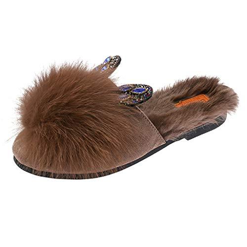 KERULA Damen Hausschuhe Flache Fluff Draussen Warm Kristall Hasenohren Badeschuhe Home Badelatschen rutschfest Slippers Pantoffeln Gartenschuhe Schlappen Slide Sandal Sandalen