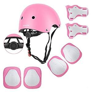 Wayin Casco Infantil, Protecciones Patines Niña Rodilleras y Cascos Ajustable Coderas para Patinar Bicicleta Monopatín (Rosa)