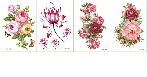 Spestyle 4pcs nouvelles et design de mode dans un seul paquet, il 4pcs y compris les fleurs colorées, roses, pivoine et lotus faux tatouage temporaires autocollants