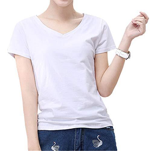Camiseta De Manga Corta con Cuello En V De Color SóLido para Mujer De Verano Camiseta Ajustada Informal Superior para Mujer