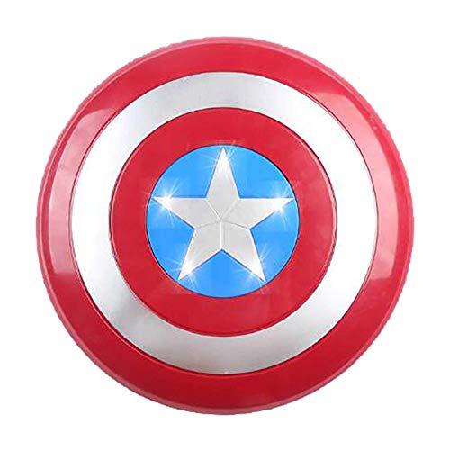 Getrichar Scudo di Captain America Costume Shield Glowing Plastic 30cm Children's Avengers Handheld Movie Edition Accessori Cosplay Regalo per Halloween Compleanno di Natale