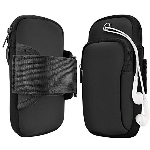 """RAYAAN™ Unisex Universal Sports arm band for mobile   mobile arm bands for running  arm band  phone holder for running  running mobile arm band  armband mobile holder for running Compatible upto 6.2"""" inch mobile phones - Deep Black"""
