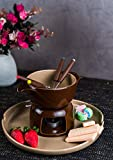 GOODHOMES Ceramic Fondue Set With Fork- Brown