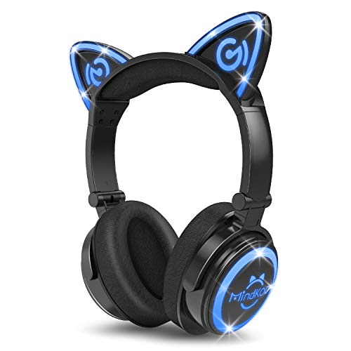 MindKoo Bluetooth Headphones, Cat Ear Headphones LED Light Up Wireless Headphones Over Ear wiht Microphone, Foldable and Volume Control for Cell Phones/iPhone/iPad/Laptop/PC/TV Kids Boys Girls Friends