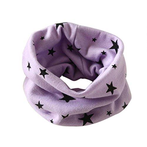 Longra Automne Hiver bébé Garçons Filles Collier Coton O Anneau Écharpe Neck 40 * 37cm pour 2 à 10 Ans (Violet)