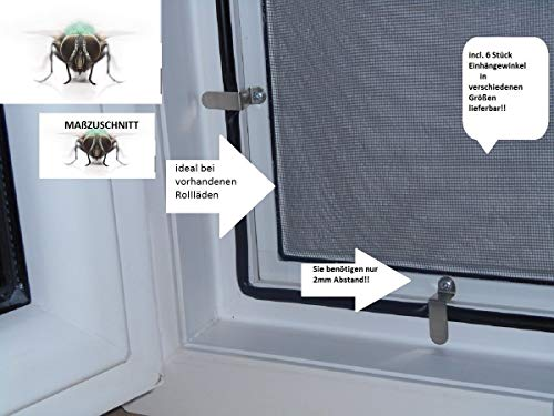 Vliegenhor voor ramen, muggen, insectenbescherming, aluminium, wit, optimaal op maat gesneden voor rolluiken, op maat gemaakt bis 130cm x 150cm + 31 mm inhanghoek 8 stuks