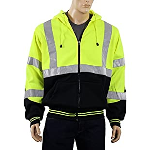Safety Depot Class 3 Heavy Duty Refletive Two Tone Hooded Soft Sweatshirt with Handwarmer pockets and Zipper Closure SS25 (Large, Lime) by Safety Depot