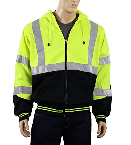 Safety Depot Class 3 Heavy Duty Refletive Two Tone Hooded Soft Sweatshirt with Handwarmer pockets and Zipper Closure SS25 (Extra Large, Lime) by Safety Depot