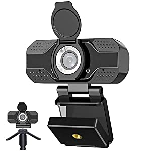 Webcam with Microphone for Desktop, 2021 Edition 1080P HD USB Computer Cameras with Privacy Shutter&Webcam Tripod, Mini…