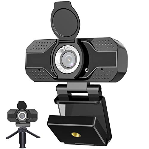 Webcam with Microphone, 1080P HD USB Web Camera, Plug and Play for PC, Laptop, Computer, Desktop, for Live Streaming, Video Call, Conference, Online Classes - Auto Light Correction, Manual Focus