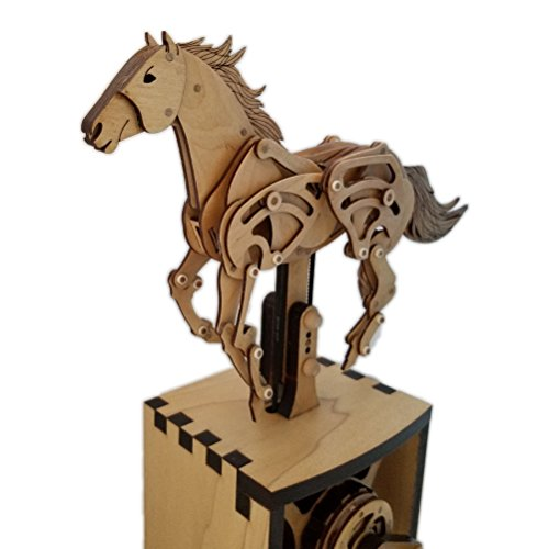 Abong 3D Wood Craft Mechanical Horse Automation Model | 221 Pieces of Precise Cuts of Plywood | Includes an Illustrated Instruction Book for The Advanced Hobbyist