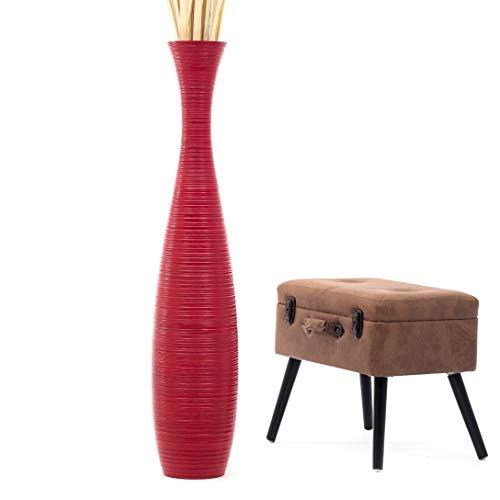 Leewadee Grande Vaso da Terra per Rami Decorativi Vaso Alto da Interno 112 cm, Legno di Mango, Rosso