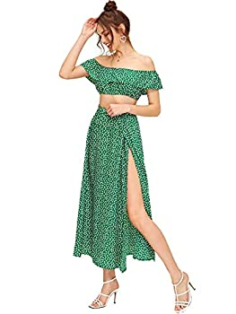 Floerns Women s Two Piece Outfit Floral Crop Top and Split Long Skirt Set Green S