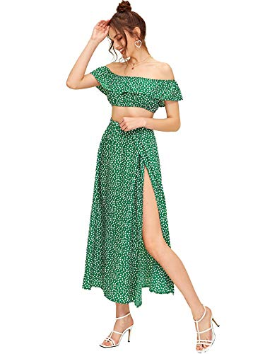 Floerns Women's Two Piece Outfit Floral Crop Top and Split Long Skirt Set Green S
