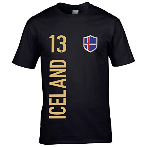 FanShirts4u Kinder Fanshirt Trikot Jersey Island Iceland T-Shirt inkl. Druck Wunschname u. Wunschnummer EM WM (7/8 Jahre 122-128 cm, Iceland/Schwarz)