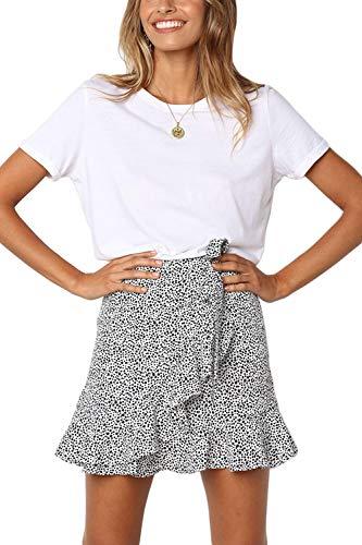 Suvotimo Minifalda De Cintura Alta con Lunares Y Volantes para Mujer