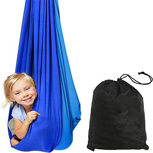 Indoor Therapy Swing - Sensory Hammock Autism, ADHD, Aspergers - Double Layer Reversible Light Blue and Deep Blue - Hardware Included - Indoor Swing - Outdoor Swing - Kids Sensory Swing