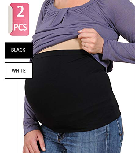 Womens Maternity Belly Band 2 Pack Comfort Support Bands for Pregnancy White,Black L