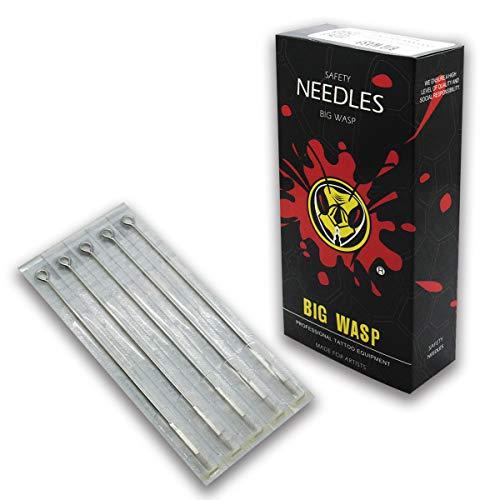 BIGWASP Premium Quality Long Bar Tattoo Needles 7 Round Liner (7RL) Disposable & Sterilized - 50PCs