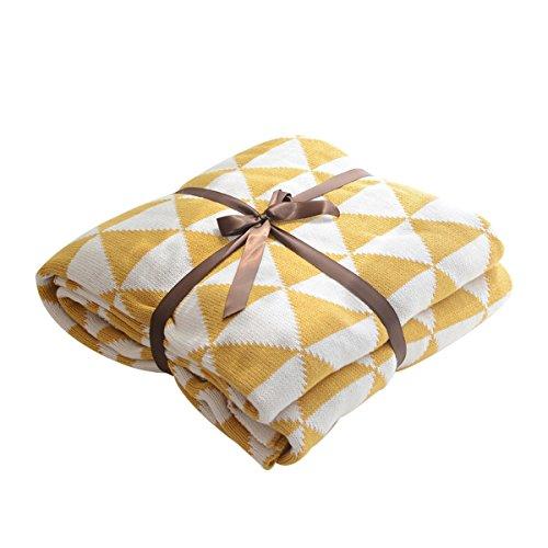 MYLUNE HOME 100% Baumwolle Stilvolle Strickdecke für Fernsehen oder Nap auf dem Stuhl, Sofa und Bett 130 * 160cm (Yellow)
