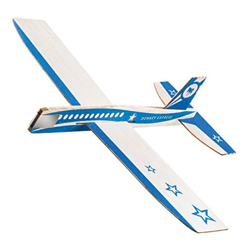 DONKEY Products Looping Stars Express, Holzflieger, Balsaholz, Blau, 16 x 20 cm, 900112