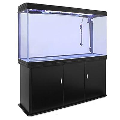 MonsterShop – Aquarium à Bords Noir de 300 litres, Meuble de Support Noir, d'Une Dimension Totale de 143,5 cm de Haut x 120,5 cm de Large x 39 cm de Profondeur