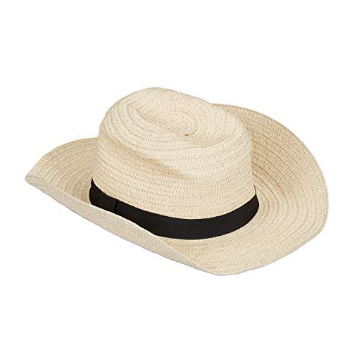Relaxdays Panamahut, cooler Strohhut im Mafia Look, Damen & Herren, Fasching, Bogart Hut mit schwarzem Stoffband, beige