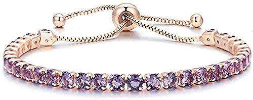Collar de pulseras infinitas de circonita cúbica para mujer, pulsera de oro rosa y plata, pulsera de joyería geométrica de moda
