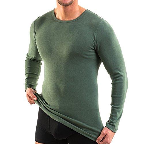 HERMKO 3640 2er Pack Herren Langarm Shirt (Weitere Farben) aus 100{260b5667afb9391ce158bbd331ef52fd587832e1b8280b7c8f8c90bf28fea0e6} Bio-Baumwolle, Größe:D 6 = EU L, Farbe:Olive