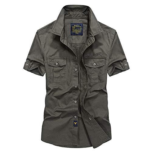 Camisa de Verano de Manga Corta para Hombres Camisa Militar de Gran tamaño para Hombres Camisa de algodón Delgada Informal
