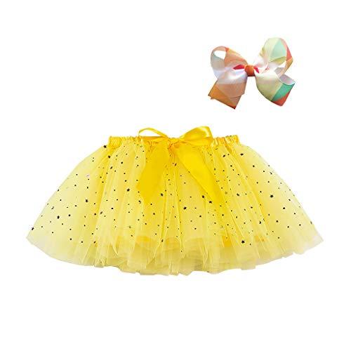 Kinder Mädchen Kostüm Kleidung Set Party Tanz Ballett Spleiß Regenbogen Tüll Rock + Bogen Haarnadel, Gelb-3, 5-8 Jahre
