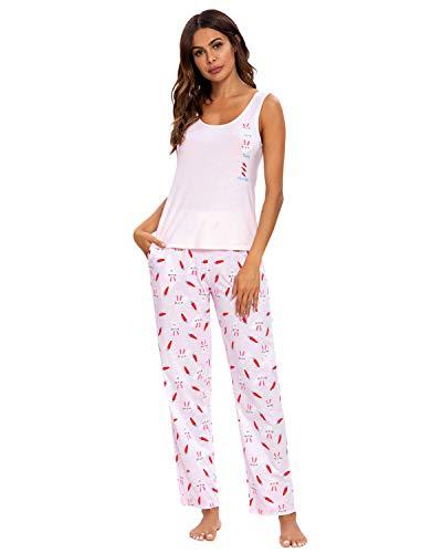 GOSO Pijama para Mujer-Pijama de Sin Mangas para Mujer-Conjunto de Pijama de Sin Mangas para Mujer