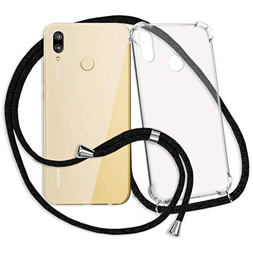 mtb more energy® Handykette kompatibel mit Huawei P20 Lite (5.84'') - schwarz - Smartphone Hülle zum Umhängen - Anti Shock Strong TPU Case