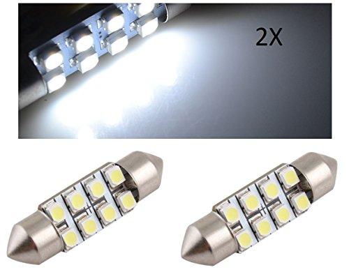 SMD TecnoStore® Lot de 2 ampoules type navette à 8 LED SMD 3528 pour plaque d'immatriculation et habitacle de voiture, 36 mm, blanc