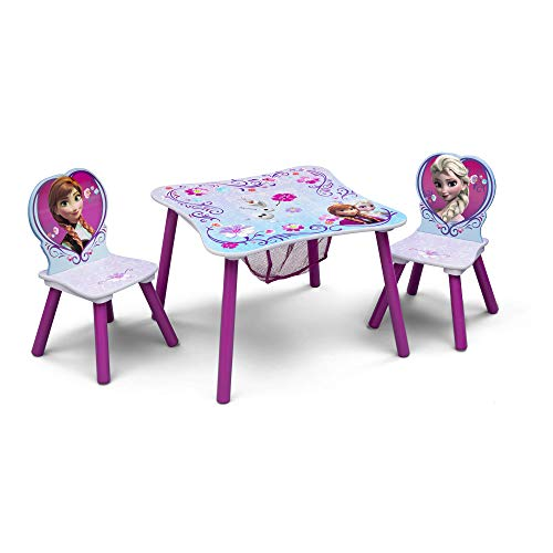 Delta Children Kids Table and Chair Set With Storage (2 Chairs Included) - Ideal for Arts & Crafts, Snack Time, Homeschooling, Homework & More, Disney Frozen