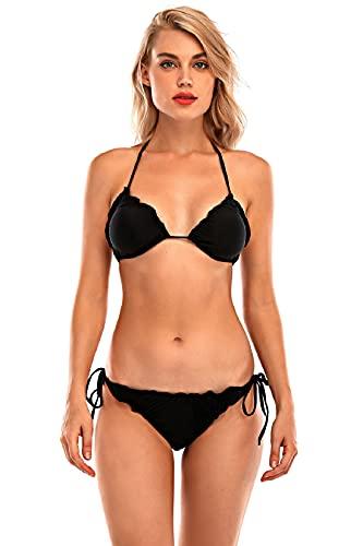 Voqeen Costumi da Bagno Donna Due Pezzi Bikini Push Up Reggiseno Imbottito Regolabile Halter Triangolo Top Beachwear Swimsuit Swimwear Bikini da Spiaggia(Nero,L)