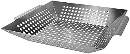 Navaris Grill tray grill pan stainless steel bowl - Vegetables grill pan grill basket - Large grating basket - Oven vegetable basket 35x30x6cm