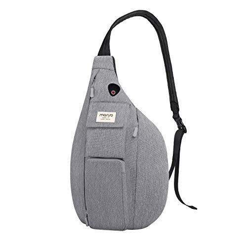 MOSISO Sling Backpack Hiking Daypack,Vertical Zipper with Pockets Crossbody Bag, Gray