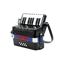 17キー8ベースのミニ小型アコーディオン教育楽器のリズムバンドのおもちゃ 知育玩具 楽器 初心者/入門用 プレゼント最適 (Color : Black)