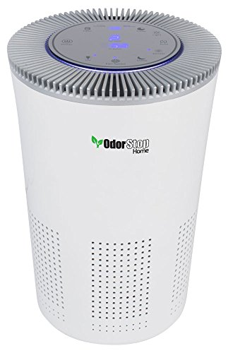 OdorStop HEPA Air Purifier with H13 HEPA Filter, UV Light, Active Carbon, Multi-Speed, Sleep Mode and Timer (Bright White)