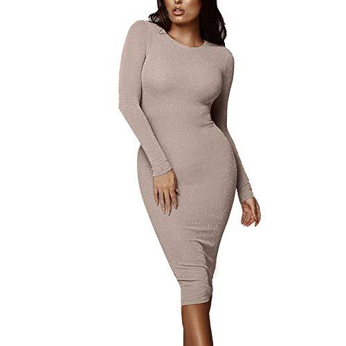 iLOOSKR Women's Bag Hip Knit Skirt Sexy Solid Color Long Section Bright Silk Beach Dress Dress(Khaki,XL)