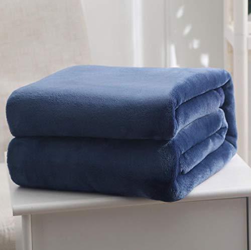 Dabaobao - Manta doble de poliéster cepillado, suave, ligera, de microfibra, cálida, cómoda, oscura, universal, fácil de limpiar en invierno y verano.