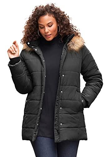 Roaman's Women's Plus Size Classic-Length Puffer Jacket With Hood Winter Coat - 1X, Black